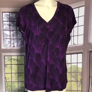 Women's Purple and Black Short Sleeve Stretch Top